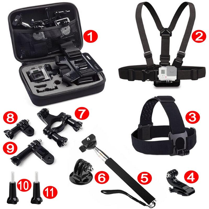 New 11-in-1 Combination Pack Accessories Kit Compatible For Sports Camera Go Pro SJCAM SJ4000 SJ5000 M20 SJ6 Legend SJ7 Star