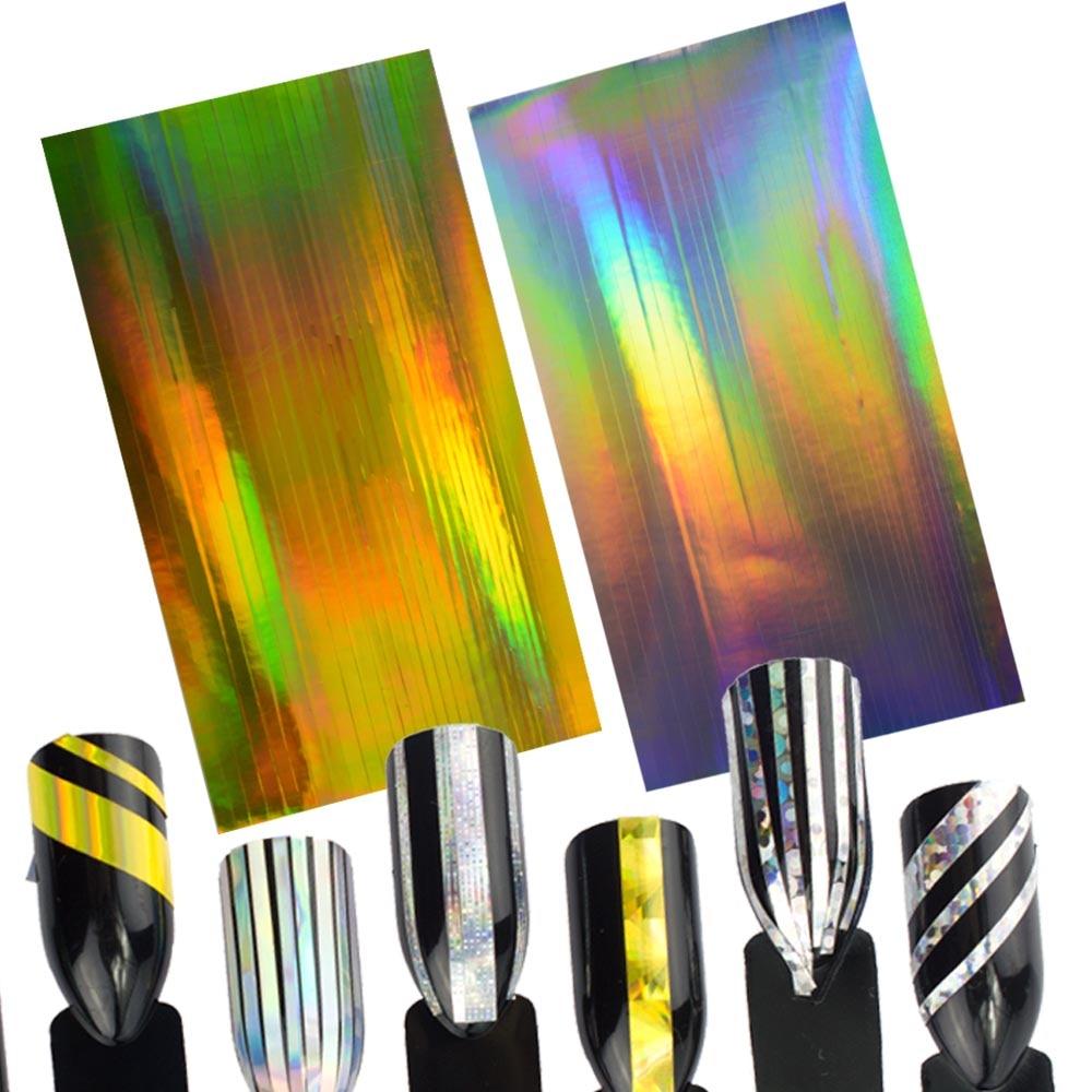 1 Blatt Laser Gold Silber Glitter Striping Linie 2D Nagel kunst ...