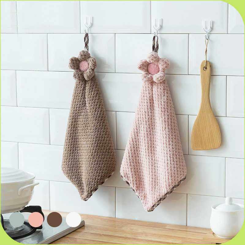 The Quick - drying sun flower Hanging Hand Towels Kitchen Towel Coral Velvet Absorbent Cloth Lint - Free Dishcloths