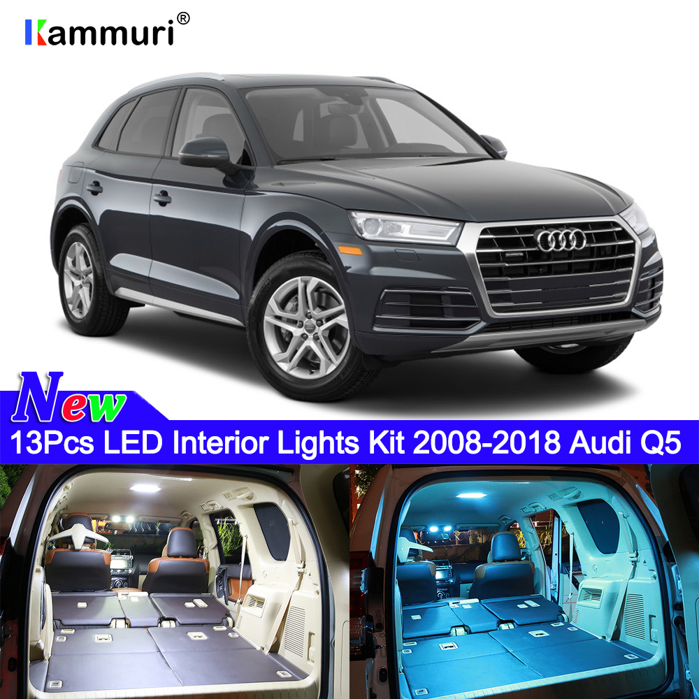KAMMURI 13Pcs No Error White LED Car Interior Lights Package Kit For Audi Q5 2008 - 2015 2016 2017 2018 2019 LED Interior Light