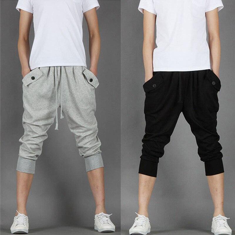 2019 Students Fashion Summer Thin Casual Pants Black Men Joggers Sweatpants Grey Foot Strap Hip Hop Pockets Short Pencil Trouser