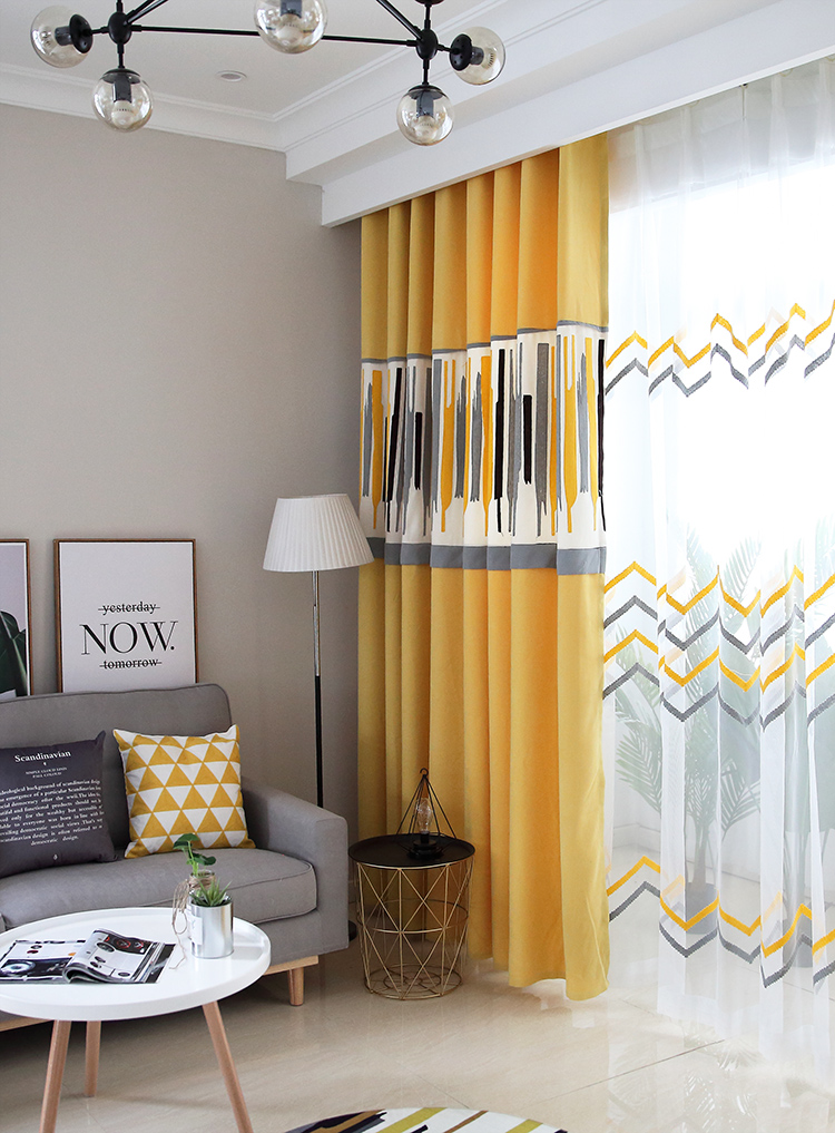 US $25.92 46% OFF|Customzied Nordic European Cotton Linen Curtain for  Living Room Modern Yellow Grey Splicing Geometric Pattern Blinds for  Bedroom-in ...