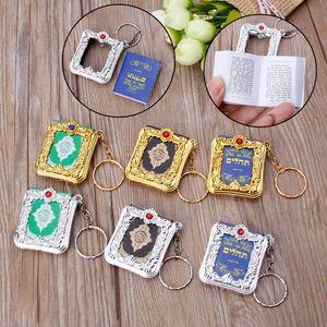 Image 2 - Mini ark alcorão livro de papel real pode ler árabe o alcorão chaveiro muçulmano jóias