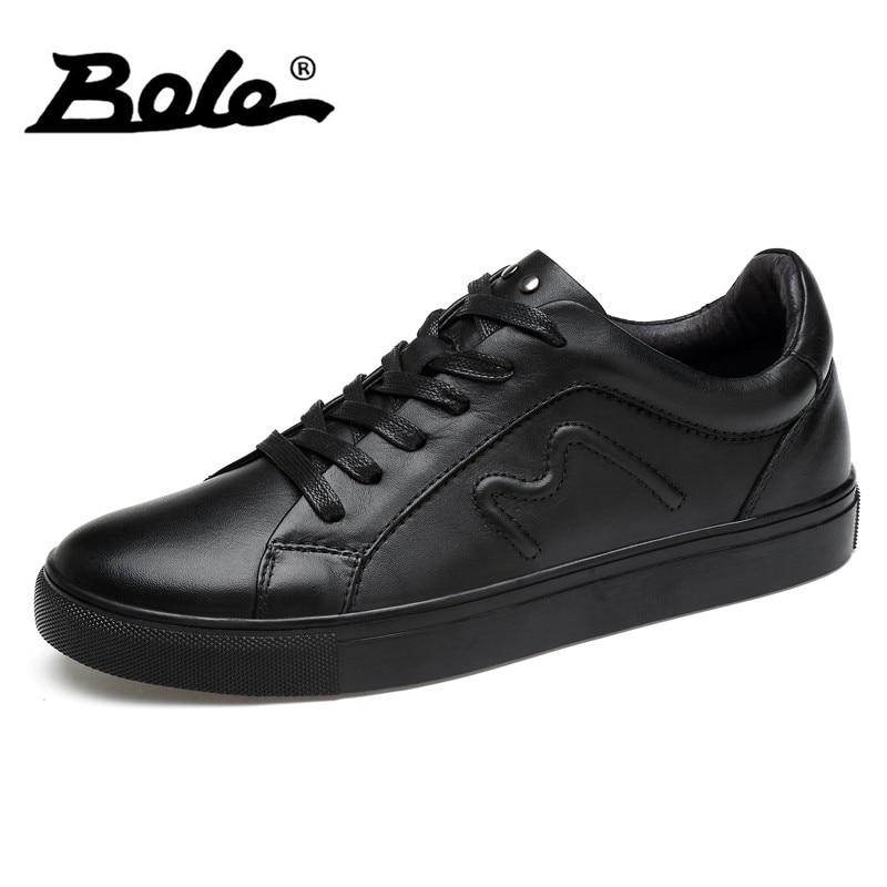 BOLE New Men Leather Shoes Handmade Genuine Leather Men Causal Shoes Fashion Design Lace Up Breathable Shoes Men Flats Big Size