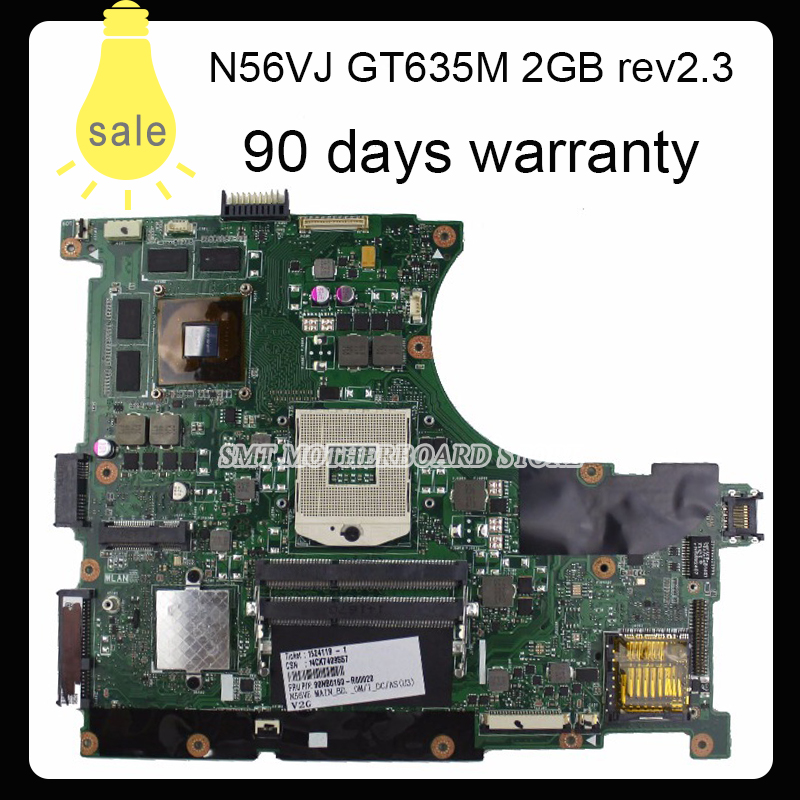 все цены на  N56VJ N56VM N56VB N56VZ Laoptop Motherboard For Asus N56vm REV2.3 Mainboard With GT635M 2G Ram PGAP89 HM76 90days Warranty  онлайн