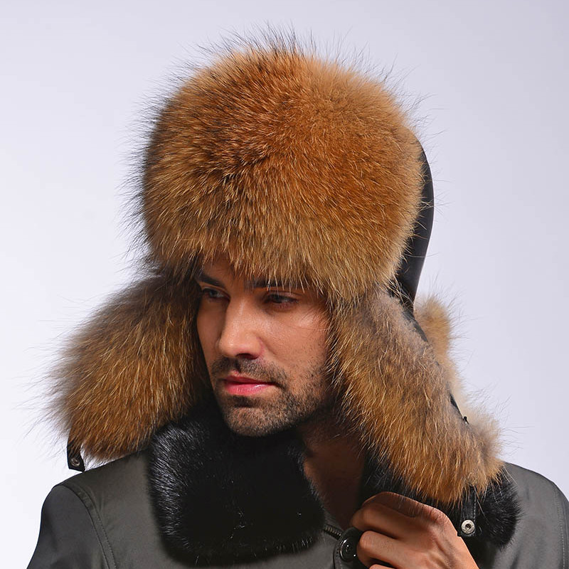 ZDFURS 2016 Genuine Leather Fur Hats Male Raccoon Fur Caps Lei Feng Cap for  Russian Winter Warm Silver Fox Fur Hats Bomber Hats-in Holidays Costumes  from ... ed488f0bc478