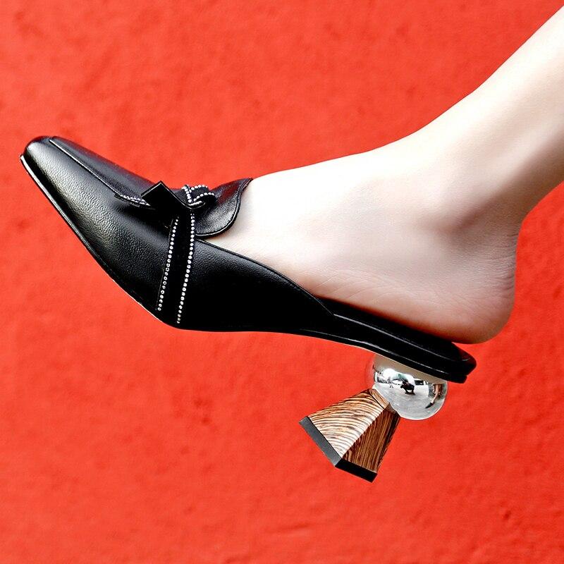 En Diapositives Mules Femme Sur Printemps Pour Hauts Été Sexy Pantoufles Véritable Slip Blanc noir marron Brun Noir Beige Talons 2019 Femmes 8 Cm Cuir FTqOxWwqHP