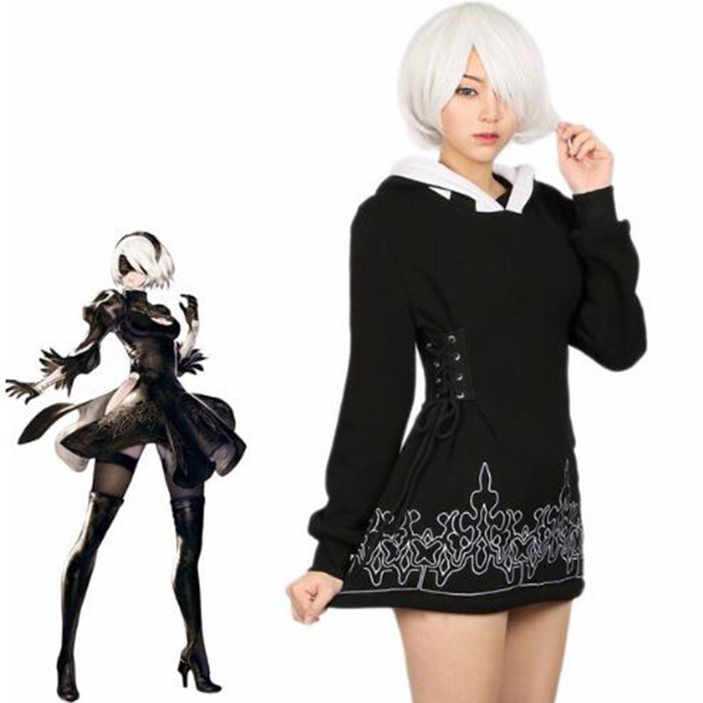 NieR Automata 2B Hoodie Black Cotton Sweatshirt Game Cosplay Costume Coat 2018 Halloween Party Casual Hoodies Dress Women