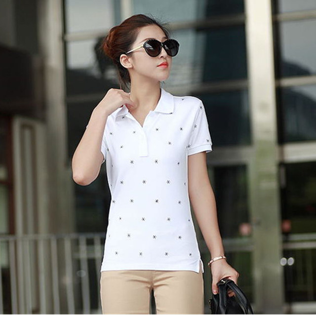 4XL Causal Slim Solid Embroidery Polo Women Shirt Cotton Turn-down Collar Women's Polo Shirt polos mujer manga corta marca B010