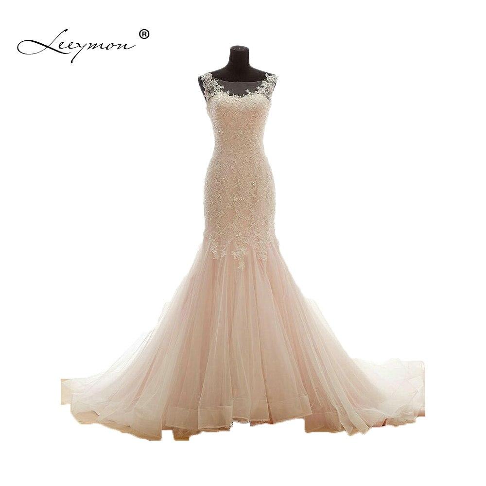 971c4a133 Leeymon Rosa cola de sirena vestido de boda largo Apliques de encaje vestido  de boda romántico vestido de novia A164