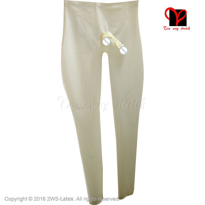 transparent natural with black loosely Sexy Long Latex Leggings Rubber Pants Trousers bottoms pants KZ 160 - 4