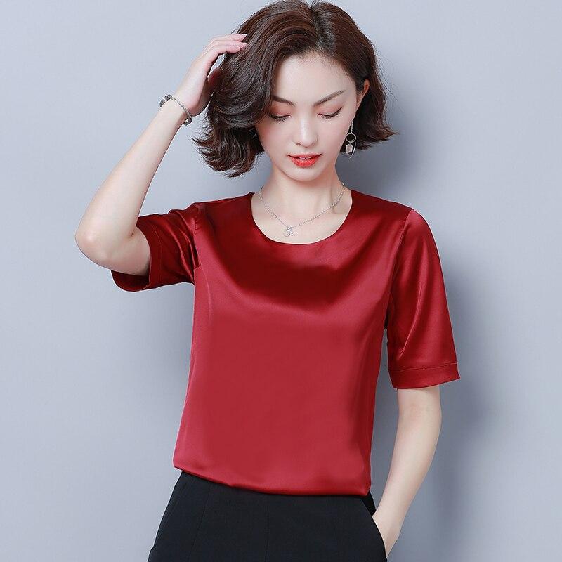 Korean Fashion Silk Women Blouses Satin Short Sleeve Pink Women Shirts Plus Size XXXL/4XL Womens Tops and Blouses Ladies Tops