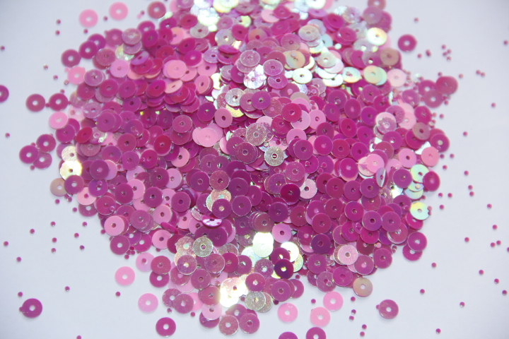 ᗗHot Fashion Pink 5mm Mixed Round Nail Art Tips Glitter Paillette