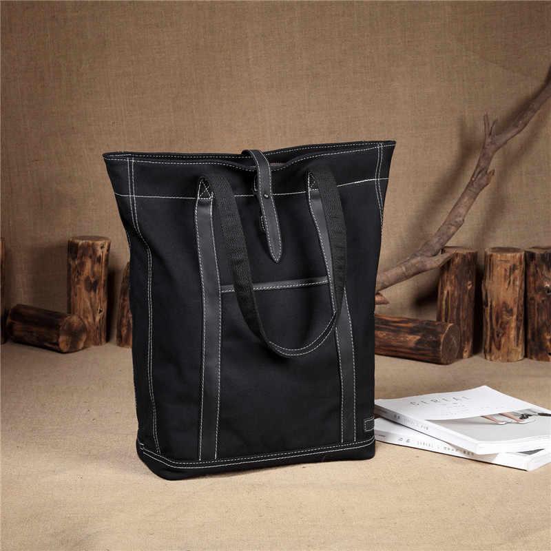 VASCHY Retro toile cuir Totes pour femmes sacs à main de luxe femmes sacs Designer résistant à l'eau sac fourre-tout convient 15.6 pouces ordinateur portable