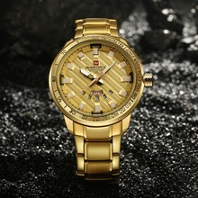 NAVIFORCE Gold Watch Men Luxury Brand Sport Full Steel Waterproof Clock Military Wristwatches