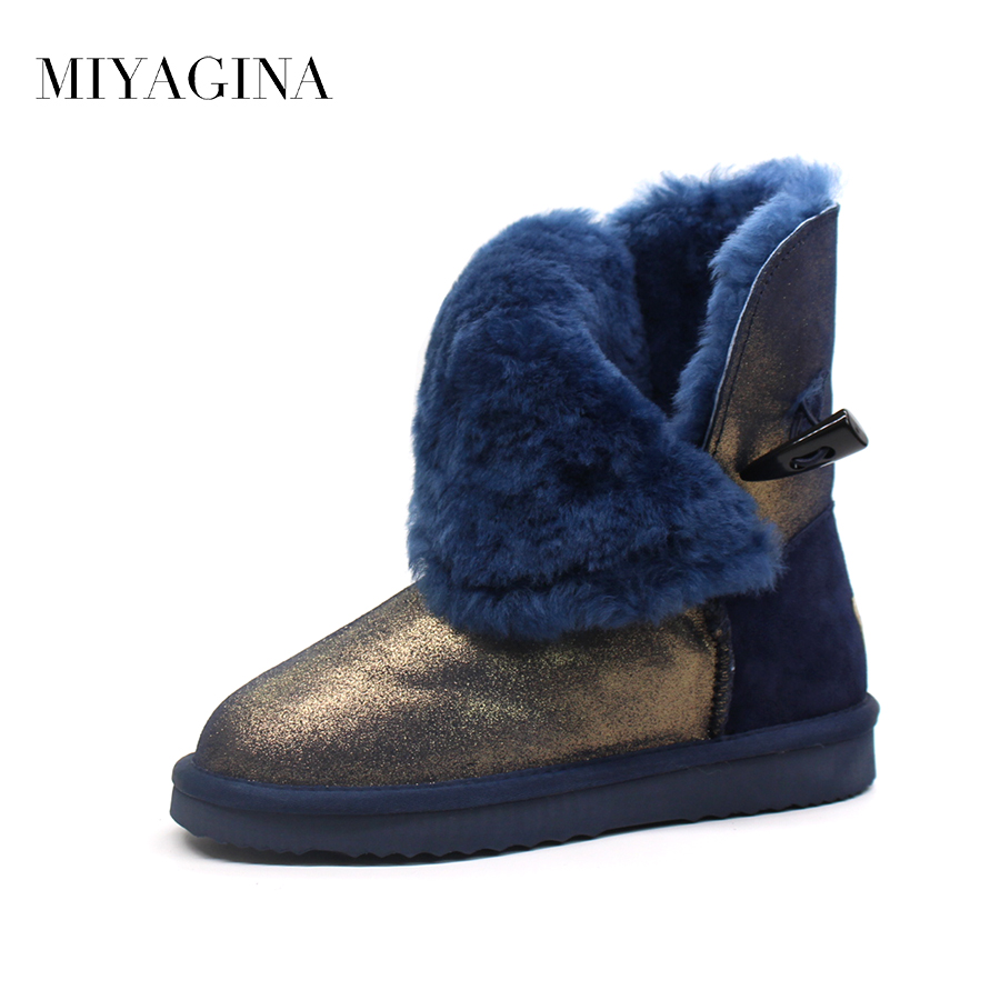 Top Quality New Fashion Waterproof Women Snow Boots Genuine Leather Winter 100% Natural Fur Botas Mujer Warm Real Wool Shoes aiweiyi womens high quality genuine leather real fur 100