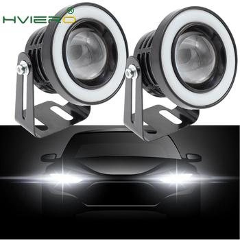 2Pcs Angel Eyes COB LED Auto Fog Lights 64mm 76mm 89mm Universal Daytime Running Light White Red Blue Headlight 30W DC 12V