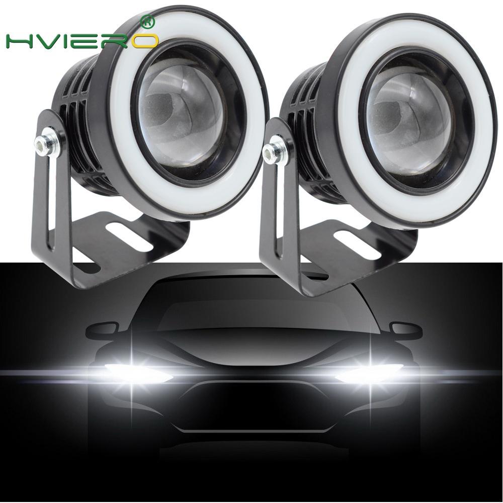 2X 64mm 76mm 89mm Angel Eyes COB LED Auto Fog Lights Universal Daytime running light White Red Blue Headlight 30W DC 12V
