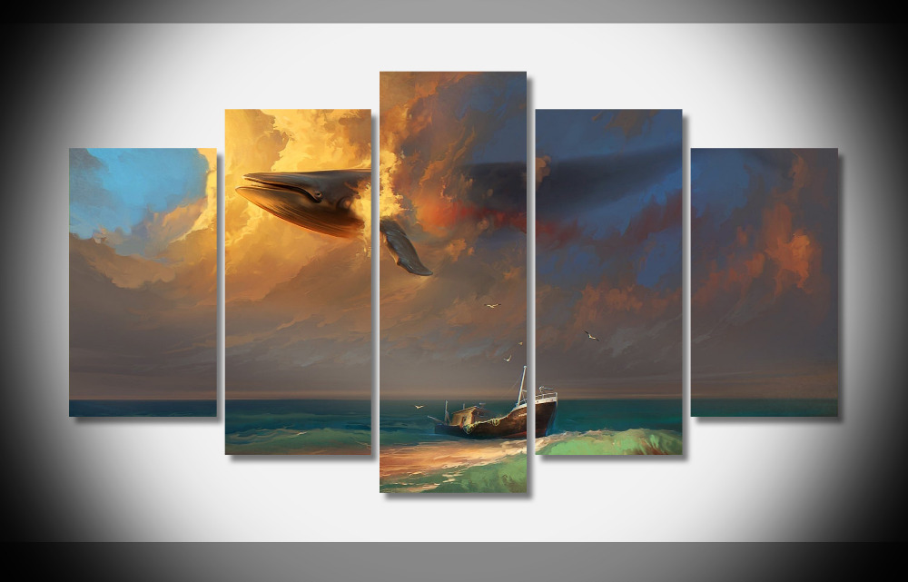 8309 Sea Ship Birds Whale Clouds poster Framed Gallery wrap art print home wall decor  wall picture Already to hung digital