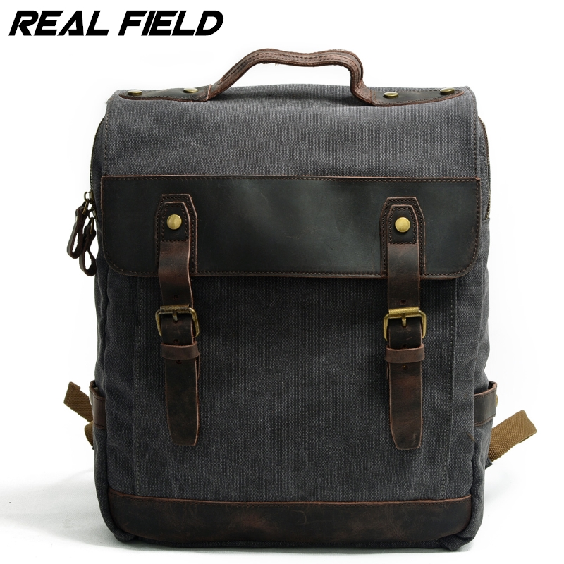 Vintage Crazy Horse Leather Canvas Large Capacity Backpack for Men School Back Pack Women Laptop Bagpack Travel Bags 246 vintage canvas backpack men s and women s school bags male travel bagpack large capacity leisure college bags 2018 new fashion