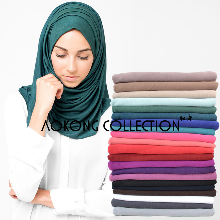 10pcs/lot Maxi Scarves Jersey Hijab Scarf Women Polyester Cotton Jersey Muslim Long Head Wraps Solid Plain Shawl Stole 70X160 Cm