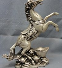 China White Copper Silver FengShui Yuan Bao Money Wealth Gallop War Horse Statue