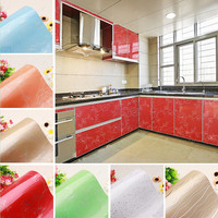 Yazi Multi Color Peony Flower PVC Wall Sticker Kitchen Cupboard Door Cover Waterproof Anti Oil Wallpaper