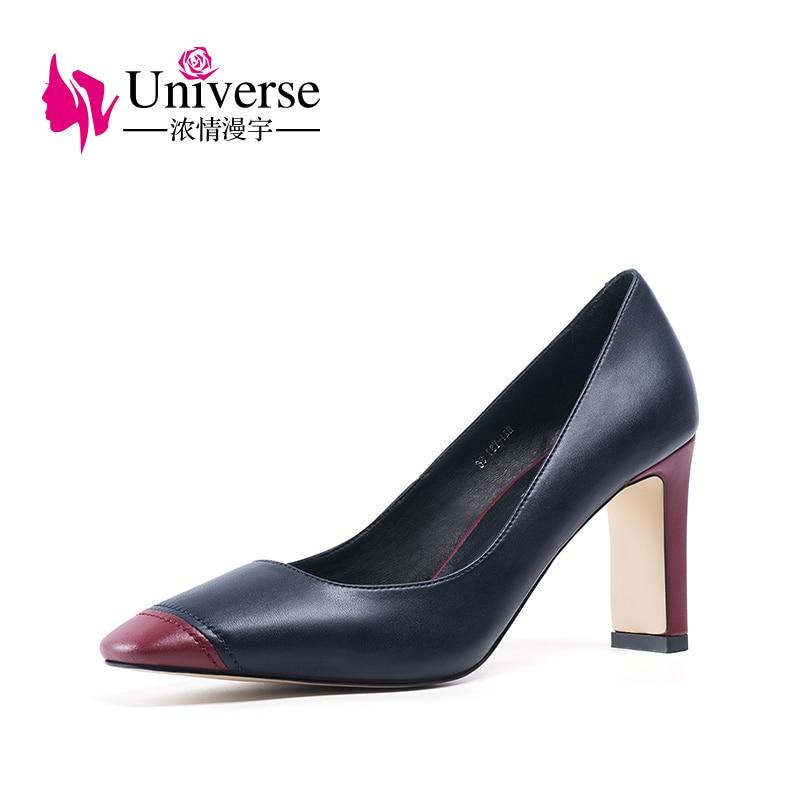 Universe mature genuine leather pumps casual slip on super high square heels Spring Autumn women pumps