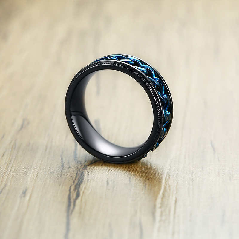Men's Blue Chain Shaped Ring