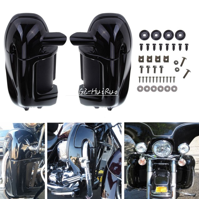 Bright black Left & Right Lower Vented Leg Fairings For Harley Touring Road King Electra Glide FLHR FLHT цена и фото