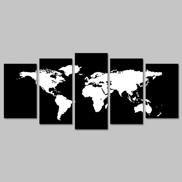 Aliexpress buy 5 piecesset modern black and white world map 5 piecesset modern black and white world map decoration wall art pictures canvas painting gumiabroncs Choice Image