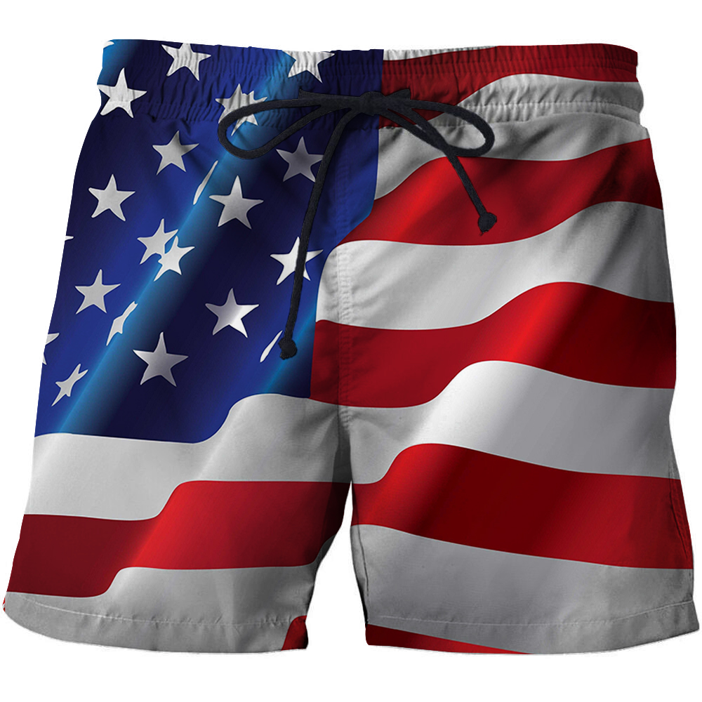 Prowow USA Print Beach Sports Pants Loose Quick Drying Running Board Shorts Spandex