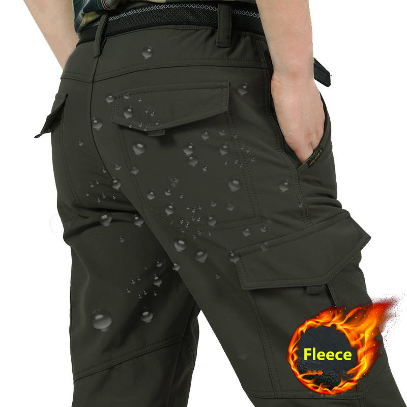 Fleece Tactical Pants Men's Winter Cargo Pants Military SoftShell Work Long Trousers Shark Skin Waterproof Thick Warm Pants 4XL