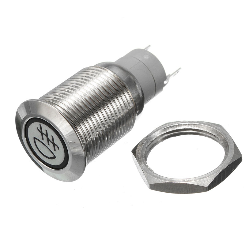 12V 3A Car 16mm Metal Hazzard Rear Front Fog Light Flat Push Button LED Switch Spot Light Button 1 x 16mm od led ring illuminated latching push button switch 2no 2nc
