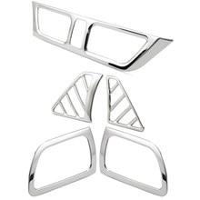 Tampa de saída de ar condicionado, 5 peças para kia rio k2 2011-2016 aço inoxidável decoração anel adesivo