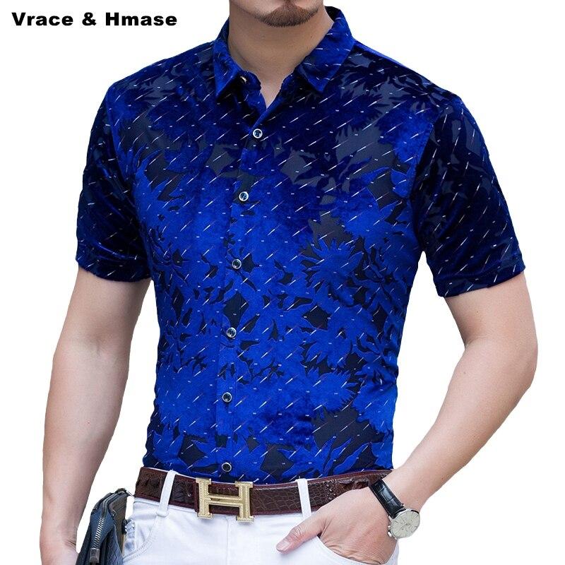 Haute qualité glace soie affaires décontracté boutique à manches courtes chemise été 2017 nouveau respirant creux pleuche mince hommes chemise M-4XL