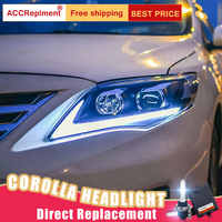 2Pcs LED Scheinwerfer Für Toyota corolla 2011-2013 led auto lichter Engel augen xenon HID KIT Nebel lichter LED Tagfahrlicht