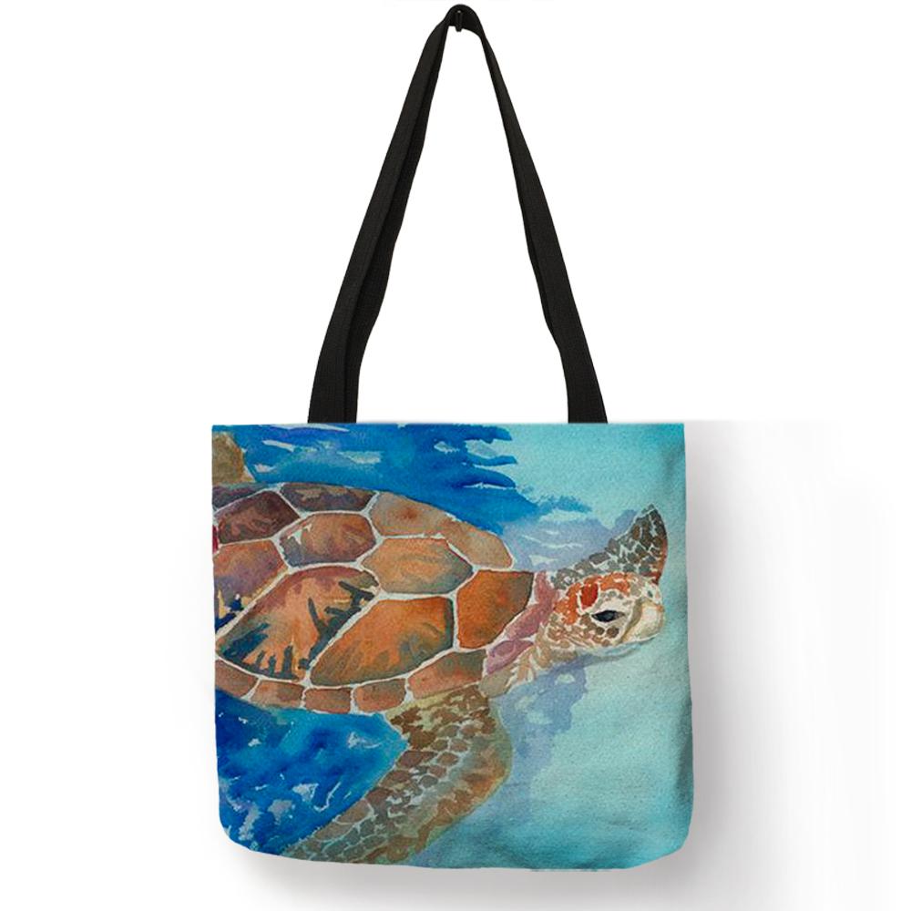 Watercolor Printing Sea Turtle Print Handbags For Women 2019 New Arrival Tote Bags Linen Reusable Shopping Bags B01092