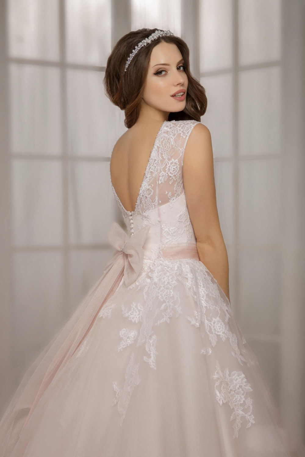 Newest light pink lace ball gowns Wedding Dresses with sashes ...