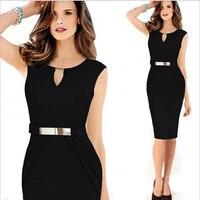 Wholesale Drop Shipping Latest Design 2017 New Girl Plus Size Fashion Black Vestido V Neck Pencil