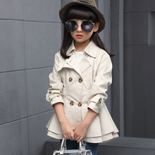 BEEBILLY Girls Trench Coat Autumn 2017 Children Long Coat Kids Cotton Outerwear Jackets Teenage Girls Clothing Fashion Outwear