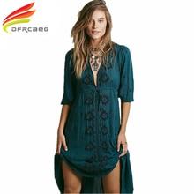 Люди богемный стиль Осенняя мода вышивка винтажное платье длиной до лодыжки длинный Повседневный халат сексуальный v-образный вырез Половина рукава Vestido