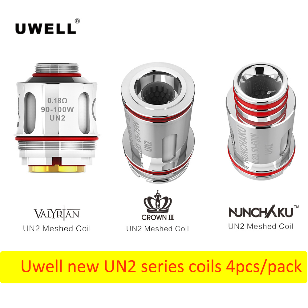 4pcs/Pack Uwell NUNCHAKU UN2 0.2ohm/0.23ohm Crown III UN2/0.18ohm VALYRIAN UN2 Meshed Coil E Accessories For Uwell Vape Tank