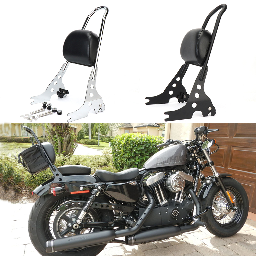 Motorcycle Luggage Rack Sissy Bar <font><b>Rear</b></font> Passenger Backrest Cushion Pad Black Chrome For Sporster XL883 XL1200 <font><b>883</b></font> 1200 1996-2019 image