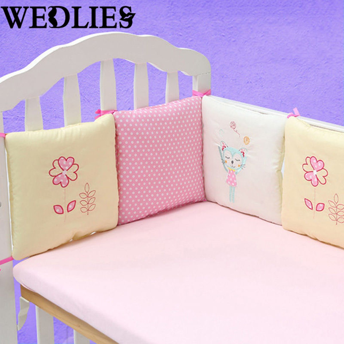 Crib protector for babies - 6pcs Set Baby Infant Cot Crib Bumper Safety Protector Toddler Nursery Bedding Set Baby Sleeping
