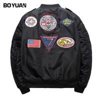 BOYUAN Spring Bomber Jacket Coat Men High Street Hip Hop Embroidery Jackets Men Outerwear Pilot Male
