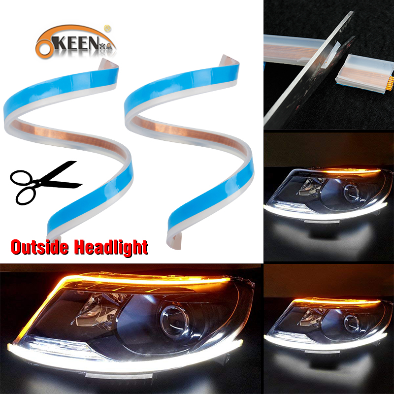 цена на OKEEN 60cm New Slim Amber Sequential Flexible LED DRL Strip For Headlight daytime running light with yellow turn signal lamp 12V