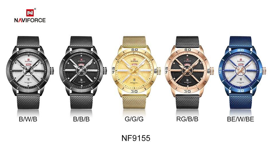NAVIFORCE Mens Watches Top Brand Luxury Quartz Watch Men Full Steel Men Watch Sport Fashion Business Watches Relogio Masculino 35