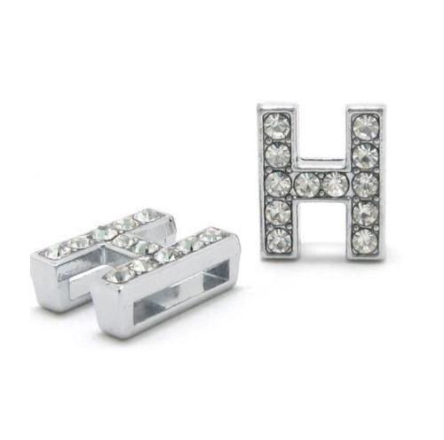 A-Z, 8 мм, стразы, кулон, буквы, подходят для DIY, подарок, шарм, кожаный браслет, браслет, пояс, ожерелье, ювелирные аксессуары - Окраска металла: H
