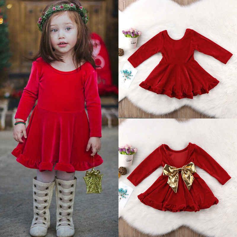 634f1fe6472e Detail Feedback Questions about Christmas Kid Baby Girls Red Velvet Bow  Dress Long Sleeve Autumn Party Princess Dresses For girls Children Baby  Clothes 1 6T ...